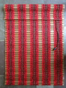 "Vintage Woven Wood Yarn Roman Roll Up Window Shade Blind Treatment 1970's 30x42"""