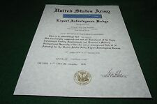 Army Expert Infantryman Badge Medal Replacement Certificate EIB