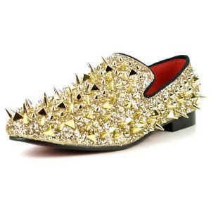 FI-7239 Gold Glitter Gold Spikes Slip on Loafer Fiesso by Aurelio Garcia