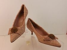 NWB MOSCHINO CHEAPANDCHIC DUSTY PINK FLORAL CANVAS BOW KITTEN HEEL 39.5 ITALY