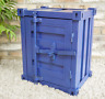 Metal Industrial Shipping Container Style Blue Bedside Cabinet Table 46x55x35cm
