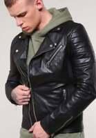 Mens Genuine Lambskin Leather Slim Fit Biker Jacket XS S M L XL 2XL 3XL