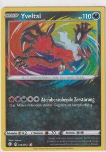 Pokemon Card Shining Fate 46/72 Yveltal Amazing Rare Misscut Square Cut German