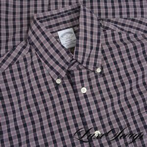 NWT Brooks Brothers Regent Fit Navy White Red Grid Layered Check Dress Shirt S