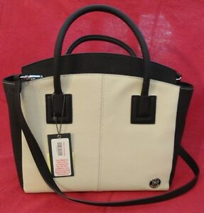 Vince Camuto Black & Cream Satchel Style Purse New Leather Authentic