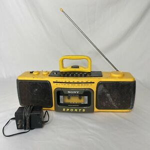Vintage Sony Sports CFS-930 Yellow Cassette Player Am FM Radio Boombox Tested