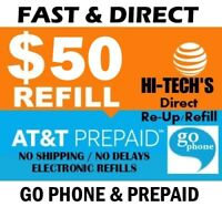 $50 AT&T FASTEST PREPAID REFILL DIRECT to PHONE 🔥GET IT TODAY!🔥 TRUSTED SELLER