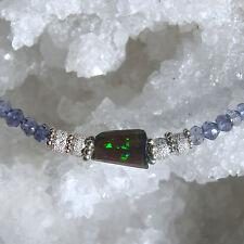 unikat: äthiopien black opal, iolith  kette, 925 silber