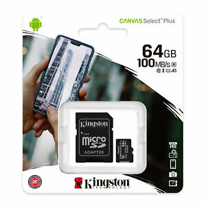 Kingston 64GB Micro SDXC UHS-I 100MB/s Class 10 TF Memory Card With SD Adapter