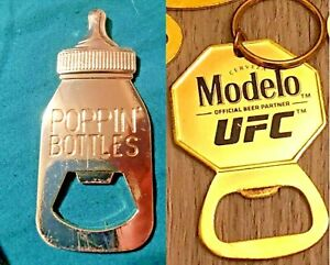 "Rose Gold Pink Baby ""Poppin' Bottles"" & UFC Modelo Cerveza Gold Bottle Opener"
