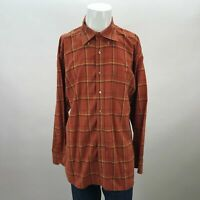 Tommy Hilfiger Orange Long Sleeve Button Down Cotton Plaid Casual Shirt Mens XL
