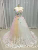 3D Flower Lace Appliques Wedding Dresses Sweetheart Princess Bridal Gowns Custom
