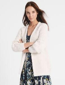 MARKS & SPENCER COLLECTION NATURAL CREAM RIBBED CABLE KNIT CARDIGAN S,M,L,XL