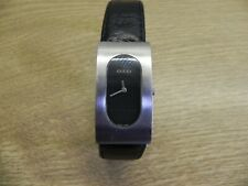 Auth GUCCI 2400L Black Dial SS/Leather Quartz  Women's Watch Water Resistant
