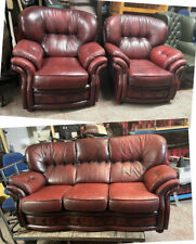 Oxblood Red leather chesterfield 3pc sofa Set WE DELIVER UK