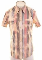 ICEBERG Mens Shirt Short Sleeve XL Multicoloured Striped Slim Ice Washed LW05