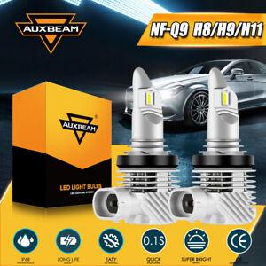 AUXBEAM H11 LED Headlight Bulbs Low Beam Fanless 6500K Pure White Free Return 2x