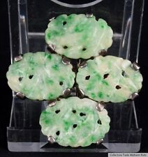 China 20. Jh. A Chinese Export Silver & Jadeite Brooch - Giada Cinese Chinoise