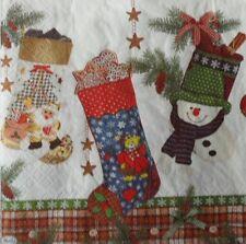 4 X Solo Papel Servilletas Navidad Calcetines Decoupage Artesanía -86
