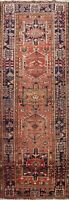 Antique Geometric Heriz Traditional Runner Rug Wool Hand-knotted Oriental 4x13