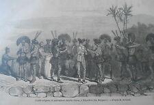Gravure 1855 - Chants religieux et Pantomimes chez les Taïvas Iles Marquises