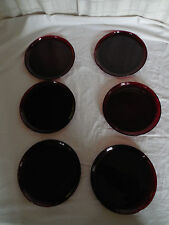 """Ruby red glass plates set of (6) 9"""" plates"""