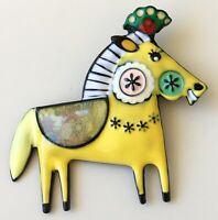 Vintage style artistic Horse  brooch in enamel on metal
