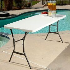 Lifetime 5 foot Light Commercial Fold In Half Table White Banquet Outdoor NEW