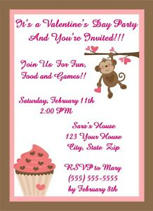 20 Personalized Valentine's Day Party Invitations~Hearts, Monkey