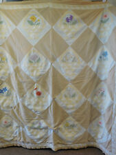 Vintage Hand Applique Flower Basket Cotton Quilt BedCover