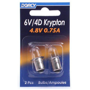 Dorcy 6-Volt/4D-4.8-Volt, 0.75A Bayonet Base Krypton Replacement Bulb, 2-Pack