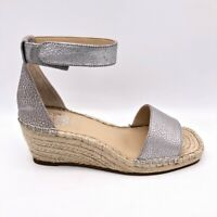 Vince Camuto Womens Jesla Espadrilles Sandals Silver Leather Rope Wedge 5.5 M