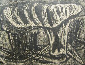 Latin American DARK Moody Signed Older Expressionist Landscape Woodcut Print NR