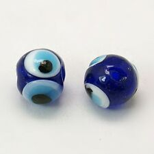 40 x Blue Glass Evil Eye Lamp Work 8-9mm Beads with 2mm Hole (LAMP-X188-1)