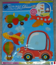 "STCIKERS AUTO-COLLANT 3D ""VOITURE AVION"" DECORATION MURALE - MEUBLE NEUF"