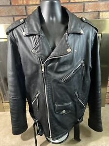 Vintage Wilsons Open Road Full Zip Leather Motorcycle Biker Jacket Mens Sz Large