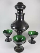 Vintage Silver Lustre Overlay Emerald Green Glass Decanter Set (#3-2)