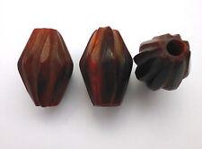 2 Stück Horn Perlen Brauntöne Olive gerieft zum Basteln für Schmuck 25x18 mm
