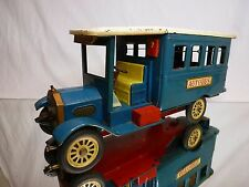 VINTAGE TIN TOY - BLECH CRAGSTAN JAPAN OLD-TIMER AUTOBUS - BLUE  L31.0cm - GOOD