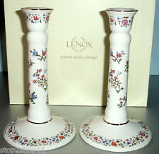 Lenox L'Chaim Sabbath Candlestick Holders SET/2 Ivory/Floral Judaica New