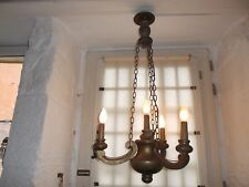 French chandelier 4 lights  wood painted gold beautifully detailed antique