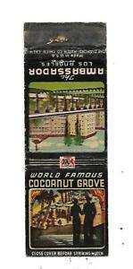 World Famous Cocoanut Grove    Matchcover   the Ambassador   Los Angeles
