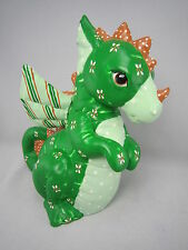 Vintage Dinosaur Figurine Ceramic Made USA Signed 1980s Handpainted Decor Dino