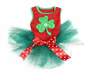 Green Clover St Patrick's Day Hot Red Sleeveless Teal Green Pet Dress Dog Outfit