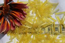 15mm Straight Transparent Yellow Vintage Venetian Glass Bugle Bead/28gm