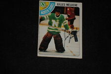 GILLES MELOCHE 1978-79 TOPPS SIGNED AUTOGRAPHED CARD #28 NORTH STARS