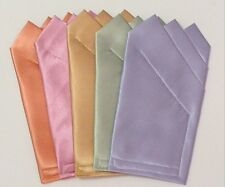 POCKET SQUARES Colorful Satin  - Square folded &  ready to slip in suit pocket