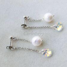 X Orecchini argento 925 DOPPIO PENDENTE perla naturale goccia swarovski ab