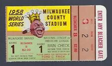 1958 WORLD SERIES NEW YORK YANKEES @ MILWAUKEE BRAVES BASEBALL TICKET STUB GM#1