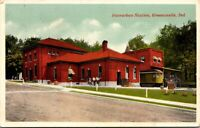 Postcard Interurban Railroad Station in Greencastle, Indiana~134682